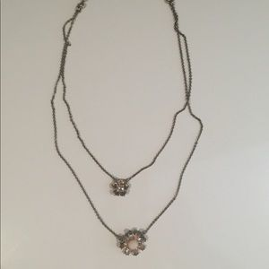 C+I crystal double flower necklace